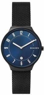 Skagen Mens Two-Hand Grenen Black Steel-Mesh Watch