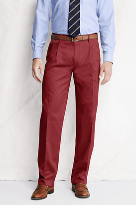 Lands' End Men's Regular Pleat Front Comfort Waist No Iron Twill Trousers