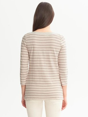 Banana Republic Metallic-Trim Striped Tee