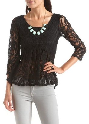 Charlotte Russe Tie-Back Lace Peplum Top