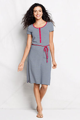 Lands' End Women's Stripe Knit Henley T-shirt Dress