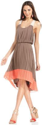 Jessica Simpson Dress, Sleeveless Pleated Colorblocked High-Low