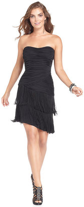 GUESS Dress, Strapless Tiered Ruched Fringe
