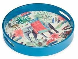 Distinctly Home Round Outdoor/Indoor Tray With Elephant