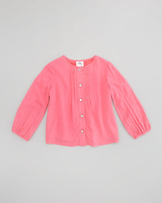 Milly Minis Long-Sleeve Pintuck Blouse, Coral
