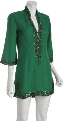 Lotta Stensson emerald linen diamond v-slit coverup tunic
