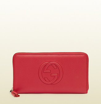 Gucci Soho Begonia Pink Leather Zip Around Wallet
