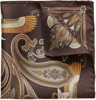 Eton Brown Ancient Inspired Paisley Print Pocket Square