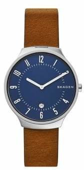 Skagen Two Hand Grenen Brown Leather Watch
