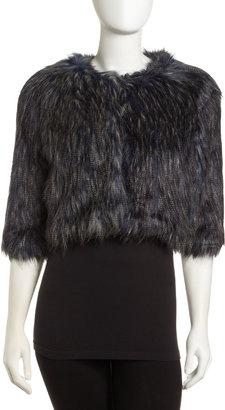 Romeo & Juliet Couture Cropped Faux Fur Jacket, Blue