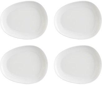 "Crate & Barrel Set of four flux 9.25""x7.5"" plates."