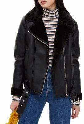 Topshop Corin Faux Fur Biker Jacket