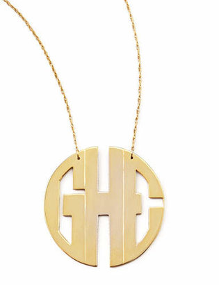 Moon and Lola Monogram Large Golden Block Pendant Necklace