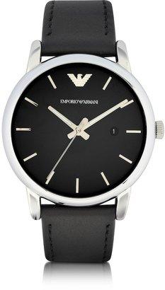 Emporio Armani Signature Dial Men's Leather Strap Watch