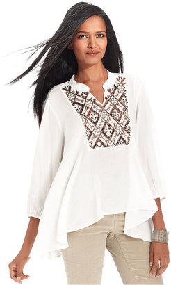 Style&Co. Top, Three-Quarter-Sleeve Sequin-Front Handkerchief-Hem