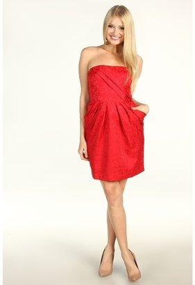 Max & Cleo Sophia Strapless Jacquard Dress (Crimson) - Apparel