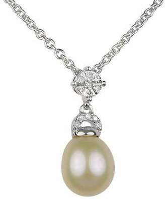 Off-White FINE JEWELLERY 8MM-8.5MM Oval Freshwater Pearl and Sterling Silver Necklace with 0.6 TCW Diamonds