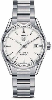 Tag Heuer Carrera Calibre 5 Stainless Steel and Silver Dial Watch, 39mm
