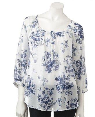 Lauren Conrad floral chiffon henley - women's