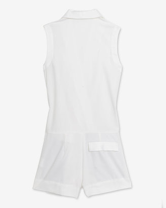 L'Agence Sleeveless Tux Romper: White