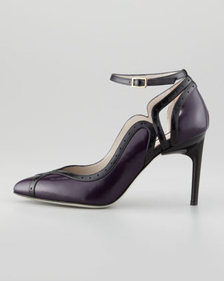 Jason Wu Bi-Color Perforated Trim Ankle-Wrap Sandal
