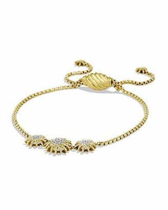 David Yurman Starburst Three-Station Bracelet with Diamonds in Gold