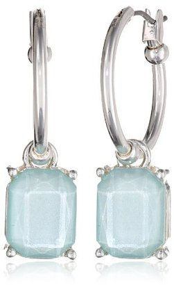 "Napier ""Mosaic Remix"" Silver Tone Blue Click-It Hoop Earrings"