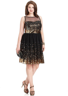 Ruby Rox Plus Size Dress, Sleeveless Sequin Illusion