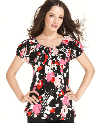 Style&Co. Top, Cap Sleeve Printed Pleated Collar