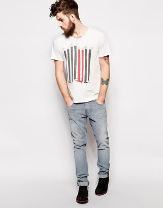 Nudie Jeans T-shirt Up Or Down Leg Print