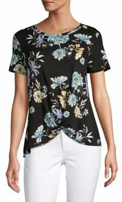Style&Co. Style & Co. Floral Short-Sleeve Knot Tee