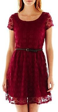 JCPenney Love Reigns Belted Skater Dress