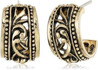 "Barse Basics"" Carved Bronze Hoop Earrings"