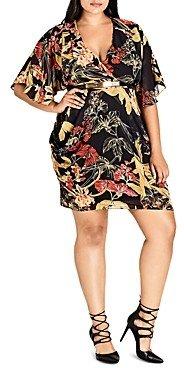 City Chic Printed Faux-Wrap Dress