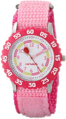 EWatchFactory Red Balloon Kids' W000175 Pink Velcro Stainless Steel Time Teacher Watch