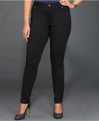 INC International Concepts Plus Size Skinny Jeans, Deep Black Wash