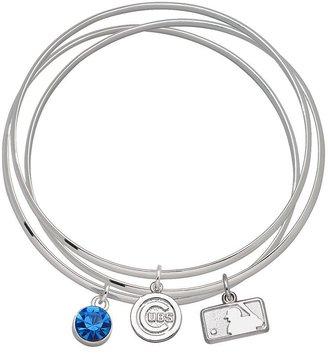 LogoArt Chicago Cubs Batterman Silver Tone Bangle Bracelet Set