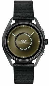 Emporio Armani Matteo Leather-Strap Touchscreen Smart Watch