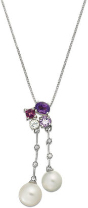 Sterling Silver Necklace, Cultured Freshwater Pearl (7-1/2mm) Multi Stone (1 ct. t.w.) and Diamond Accent Pendant