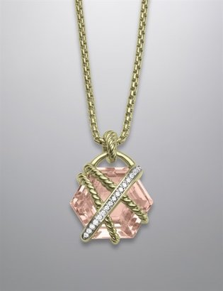 David Yurman Cable Wrap Pendant with Morganite on Chain