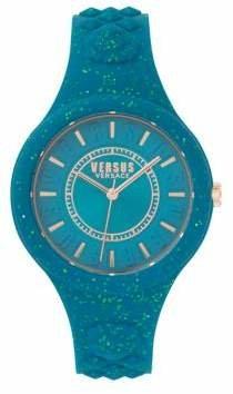 Versace Fire Island Sparkle Analogue Strap Watch