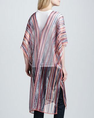 Missoni Long Lightweight Sheer Striped Poncho, Peacock/Pink
