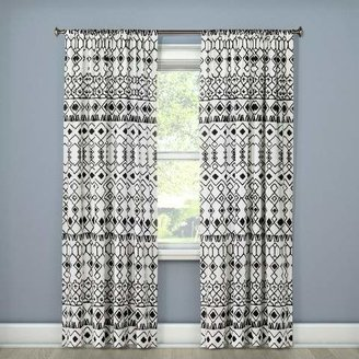 Mudhut Mali Drape Curtain Panel Cream/Black - Mudhut