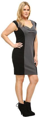 Torrid Black & Grey Color Block Ponte Dress