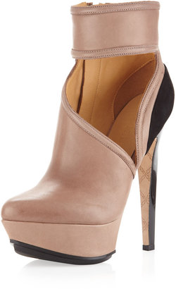 L.A.M.B. Dotty Side-Cutout Ankle Bootie, Taupe