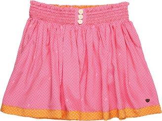 Juicy Couture Girls' Smocked Skirt (Big Kids) (Pink Plumeria/Mandarin Combo) - Apparel