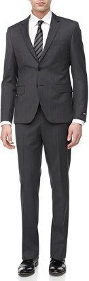 HUGO BOSS Micro-Check Two-Piece Suit, Medium Gray