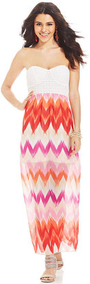 Trixxi Juniors' Strapless Printed Maxi Dress