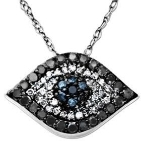 Lord & Taylor Diamond Evil Eye Pendant in 14 Kt. White Gold, 0.33 ct. t.w.