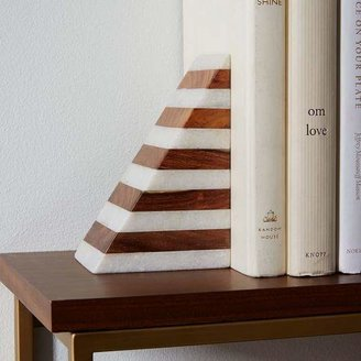 west elm Striped Marble + Wood Bookend
